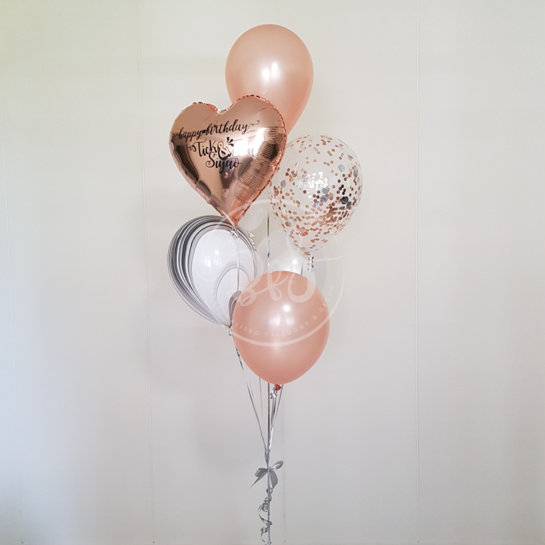 Mother S Day Balloons Rose Gold Foil Balloon Balloon Cluster Balloon Bouquet Everything Else On Carousell