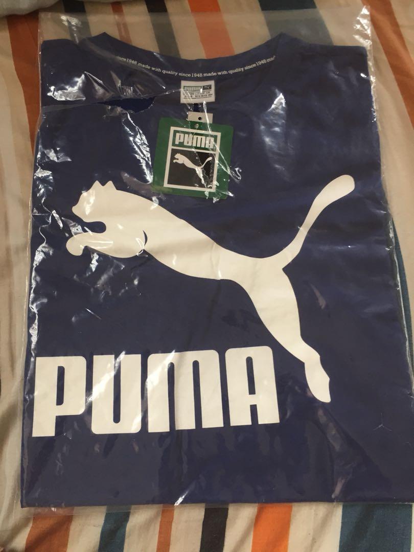 NEW puma authentic logo tshirt blue