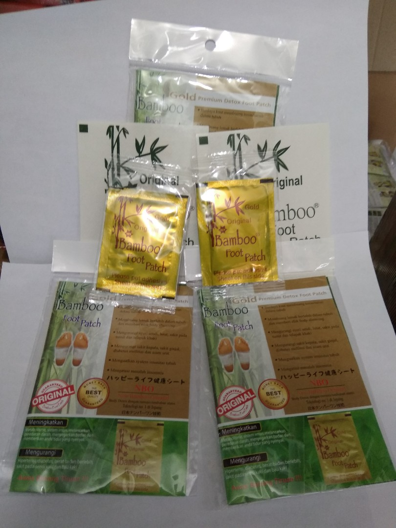 Paket 5 Pasang Gold Bamboo Foot Patch ( Original ), Health & Beauty, Men's Grooming on Carousell