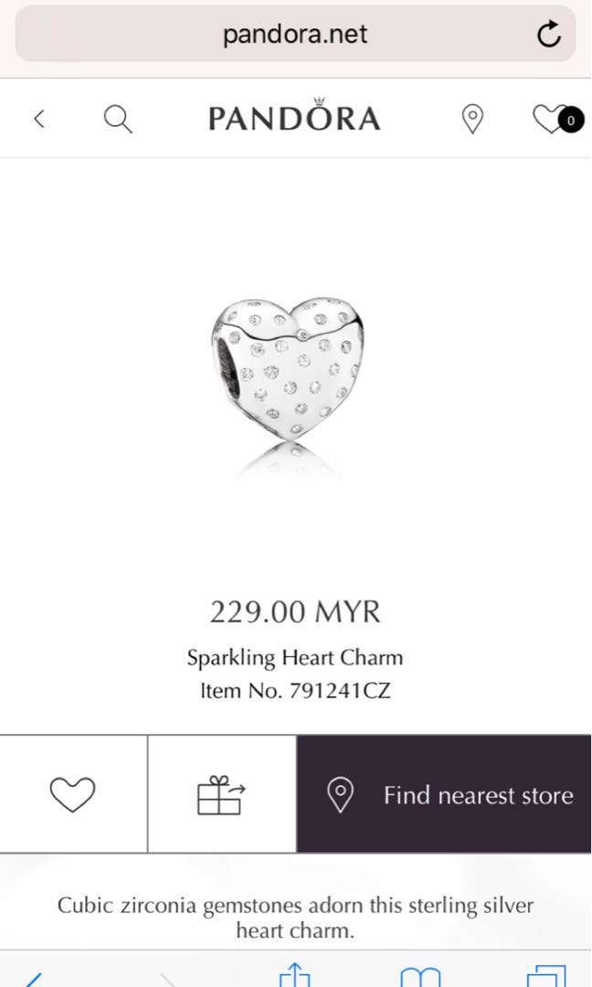 300ec7aac Pandora Charm Sparkling Heart Charm, Women's Fashion, Jewellery on Carousell