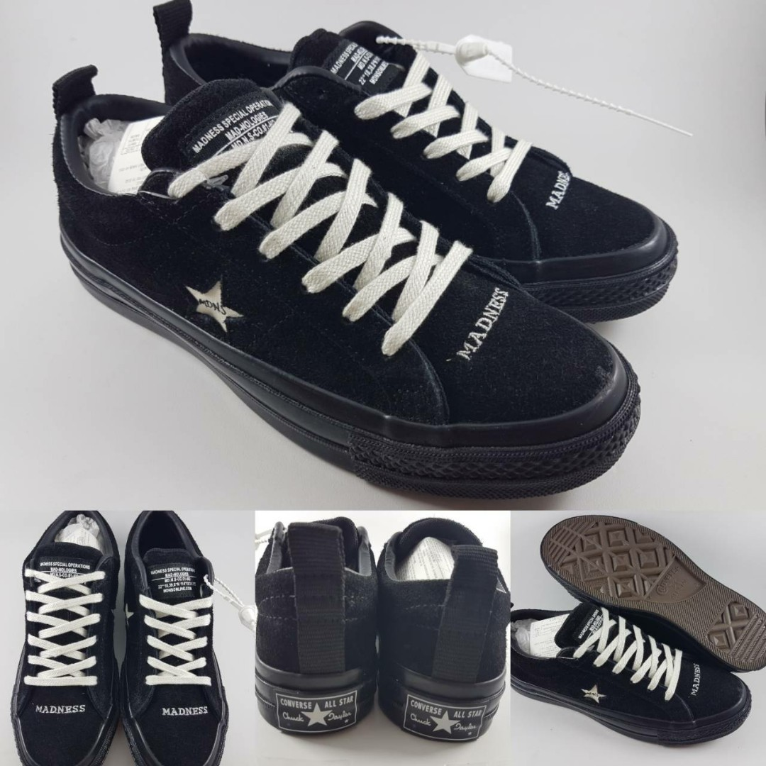 d844585eb9ce Sepatu Kets Converse One Star Suede Madness Madnologies Black White ...
