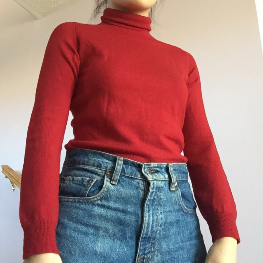 Small Red Turtleneck Sweater
