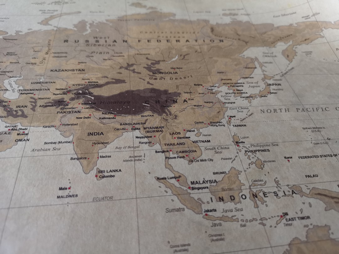 Vintage World Map Poster WM01, Furniture, Home Decor on Carousell