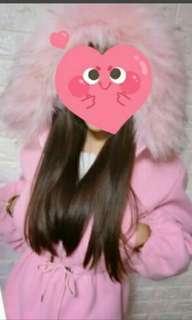 粉色毛領外套