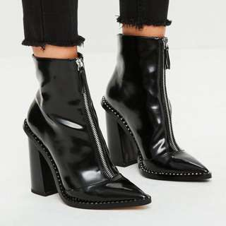 Missguided Black Front Zip Pointed Ankle Boots