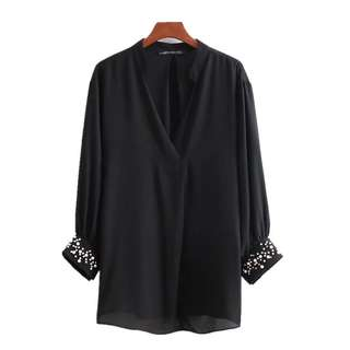 European and American style solid V-neck basics seven-point sleeves beaded loose head shirt