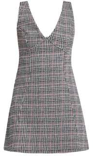 Petite checkered A-line pinafore dress