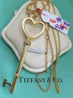 18K|750 Tiffany Key Pendant w Chain Necklace Genuine Gold