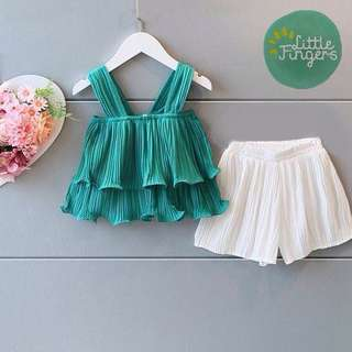 Girls Suit Sleeveless + Shorts Pants