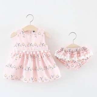 Female Baby Floral Dress+Pants Suit
