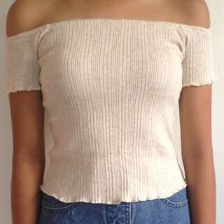 Cream ribbed offshoulder