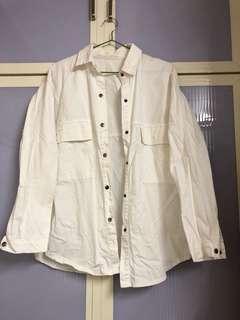 挺布白色棉襯衫外套