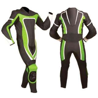 Green Leather Racing Suit for best Rider