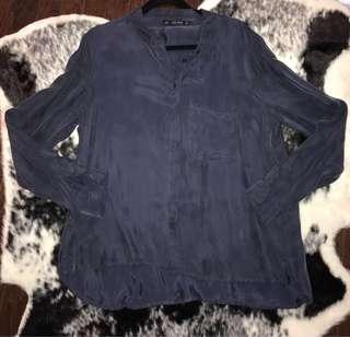 Zara navy blue Button Up shirt
