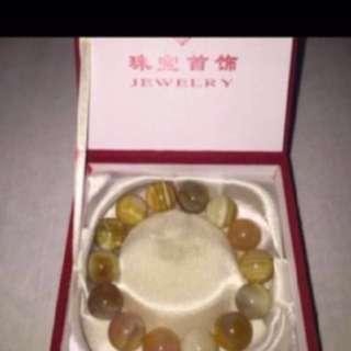 {FS138} 黄玛瑙 High Quality Yellow Agate Bracelet 22mm