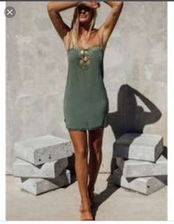 Spell Love lace Khaki Slip Dress