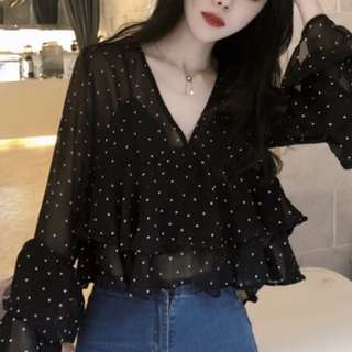 Chiffon Flared Retro Blouse