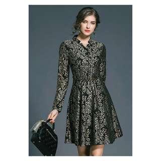 Black Golden Belted Dress