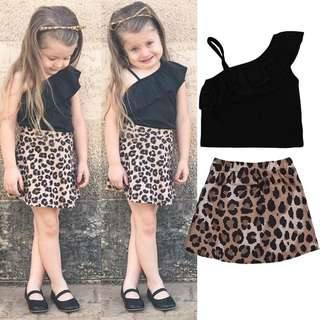 SET TOP+ SKIRT LEOPARD ~READY STOK~
