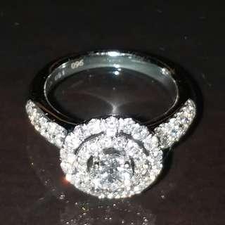 一卡半 鑽石 戒指 超閃 好火