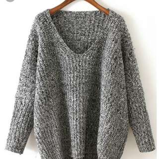 (WTS) V neck cable knitted grey sweater