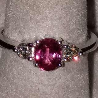 76份 天然 紅寶石 18K白金 戒指 原價$8800