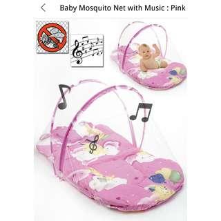 Katil Mini Bayi dengan Muzik: Biru