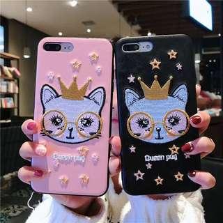韓國直送!貓貓刺繡IPhone case