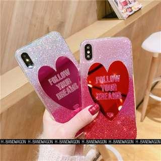 【H.BANDWAGON】超美鏡面愛心字母全包閃粉手機殼 軟殼 保護套 iPhone X 8 7 6s 6 Plus