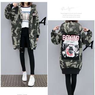Camouflage Hooded Long Jacket (Army Green)