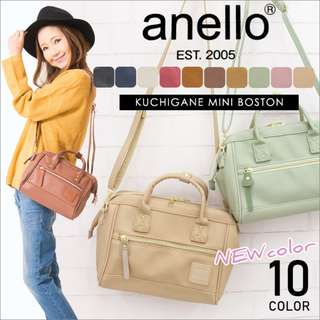 💯 [AT-H1021] NEW CANDY COLOURS!! 2018 NEW ARRIVAL!! ANELLO PU LEATHER 2-WAY MINI BOSTON BAG