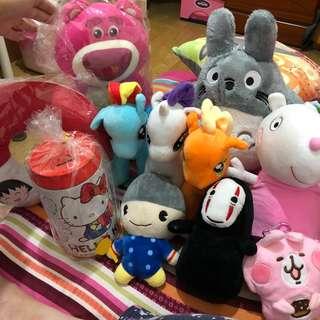 👍娃娃組 娃娃機必放 龍貓 彩虹馬 佩佩豬 小丸子 無臉男 卡赫娜拉 kitty 熊抱 恐龍 僅此一組