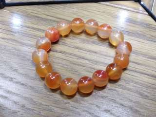 天然 通透 油潤 橙瑪瑙 水晶 手串 手鍊 28g