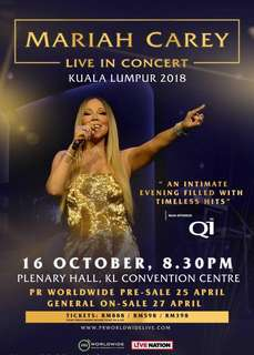 Mariah Carey Live in KL 2018 Gold Seat Ticket