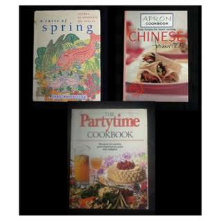 BOOK SELECTION: COOKBOOKS - A Taste of Spring * Apron Cookbook * The Partytime Cookbook