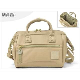 💯 [AT-H1021] 2018 New Arrival!! Anello Pu Leather 2 Way Mini Boston Bag-BEIGE