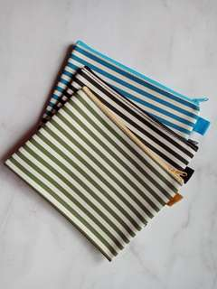 Pouch makeup / kotak pensil stripe