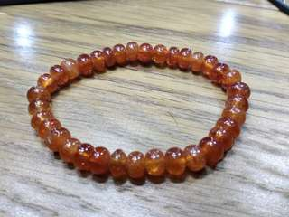 [珍藏 絕產] 天然 油潤 色濃 全純橙色 蜜糖 玻璃光澤 碧璽 扁珠 水晶 手串 手鍊 18g