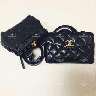 (SOLD) Chanel Vintage 黑色荔枝皮/羊皮腰包