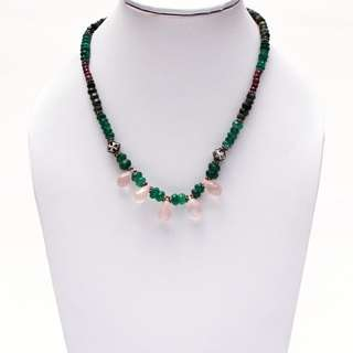 RUBY and Emerald Beads Necklace with Beautiful Rose Quartz Drop beads..