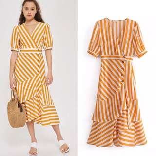 European striped V neck wrapped single-breasted ruffled dress