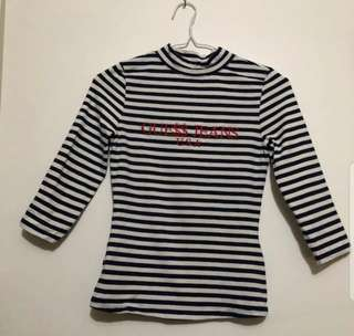 ASAP COLLAB WITH GUESS, 3 QUARTER SLEEVE PIN STRIPPED