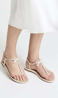 Charles & Keith Ribbon White Sandals