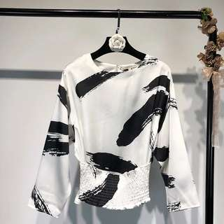 European station retro ink printing long-sleeved waist OL shirt sleeve top