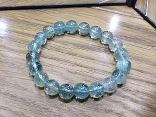 [近乎全清] 天然 不混濁 不實色 海水色 海藍寶 水晶 手串 手鍊 19g