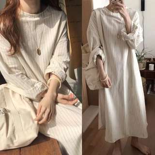 Loose fitting South Korea loose vertical striped waist dress