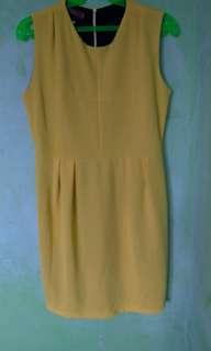 Yellow Office Elegant Dress