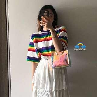 Loose fitting Korea summer の rainbow color stripes short sleeve tee