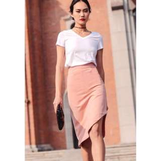 Fashmob Milton Work Skirt in Pink