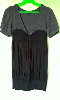 Cute Office Casual Black Gray Dress Top
